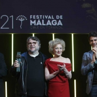 15 APRIL 2018 (MALAGA,SPAIN,ANDALUCIA ) The Mexican director Guillermo del Toro has been awarded at the 21st edition of the Malaga Festival. Cinema in Spanish with the Malaga-SUR Award, which was presented this Saturday at the Teatro Cervantes by the actress Marisa Paredes and the actor Ron Perlman